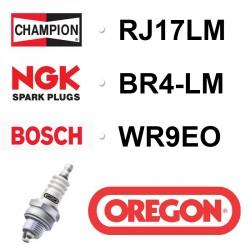 BOUGIE OREGON - CHAMPION RJ17LM - NGK BR4-LM - BOSCH WR9EO