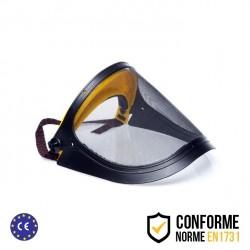Visière de protection relevable grillagée en métal avec élastique