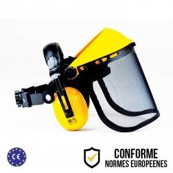 Visière professionnelle de protection anti-bruit à écran grillagé relevable