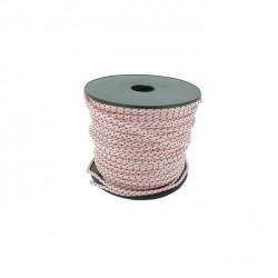 Corde lanceur polyamide blanche avec liseré rouge - Longueur 100 m - Diamètre 3 mm