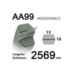 Courroie AA99 - Courroie lisse héxagonale 2569 mm