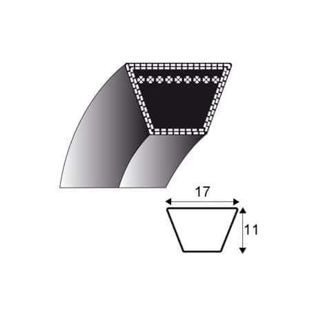 B55 : Courroie lisse trap/ézo/ïdale pour Tondeuses autoport/ées CASTELGARDEN TC102 35062813//0 Longueur ext/érieure: 1469 mm Section: 17x11 mm N/° origine: 35062811//0